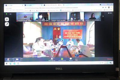 BGH trường MG Bình Minh dự Hội nghị  CBQL tháng 8/2021, hình thức trực tuyến do Phòng GDĐT huyện Krông Pắc tổ chức  Sáng thứ 7, ngày 14/8/2021