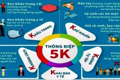 """THỰC HIỆN TỐT """"THÔNG ĐIỆP 5K"""" TRONG PHÒNG CHỐNG DỊCH COVID-19"""